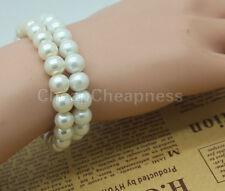New Fashion Elegant Glossy 8mm Faux Pearl Beads Stretch Bracelet Bangle Wedding