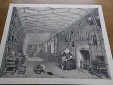 Antique c1840 Lithograph Nashs Mansions of England BROWN GALLERY KNOWLE KENT
