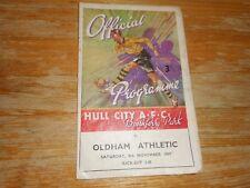 HULL CITY  v  OLDHAM ATHLETIC   1947/8  DIVISION 3 (NORTH) ~ NOV  8  *FREE POST*