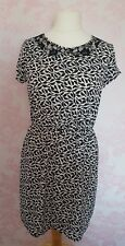 New Look Size 12 UK black & white bird print dress with lace detail- summer wear