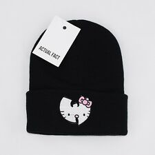 Véritable Fact Wu Tang X Hello Kitty Brodé Hip Hop Roll up Noir Bonnet
