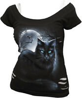 SPIRAL DIRECT MYSTICAL MOONLIGHT 2in1 Ripped Top Ladies/Girls/Kitten/Black Cat