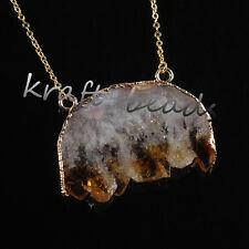 Natural Yellow Quartz Cluster Druzy Crystals Reiki Quartz Stone Pendant Necklace