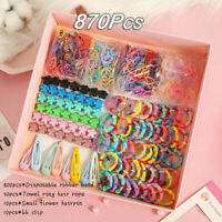 870Pcs Candy Color Hair Clips Rope Ponytail Holder Girls Kids Hair Accessory kit