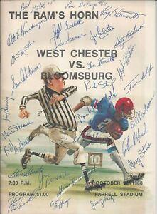 1980 West Chester vs Bloomsburg Football Program Signed HC Otto Kneidinger +26
