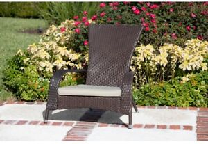 All-Weather Outdoor Beige Cushion Wicker Patio Adirondack Chair Furniture New