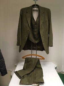 Vintage Mens Bespoke Herringbone Tweed Green 3 Piece Suit 35 Inch Chest Wedding?