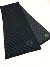 "Louis Vuitton Paris Damier Print WOOL Scarf Black Petit Gray 12""x56"""