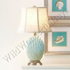 Pale Blue Sea Shell Accent Table Lamp Ceramic Burlap Lampshade Coastal Decor New