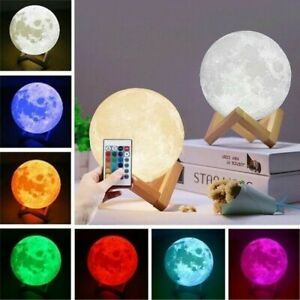 3D Printing LED Night Light Moon Lamp Remote Control + battery  16 Color Change