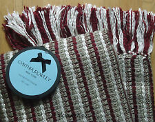 "Cynthia Rowley CHUNKY Weave THROW BLANKET 60"" Berry Red Beige White Burgundy NEW"