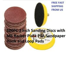 100PC 2 Inch Sanding Discs with M6 Backer Plate PSA Sandpaper Hook and Loop