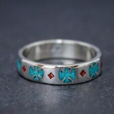 Sterling Silver Thunderbird Band Ring with Turquoise & Coral inlay