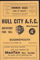 1962/63 HULL CITY V BOURNEMOUTH 20-10-1962 Division 3