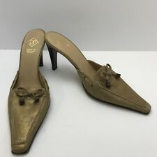 Donald J Pliner Gold High Heel Sandals Slide On Mules Made in Italy 9M $215