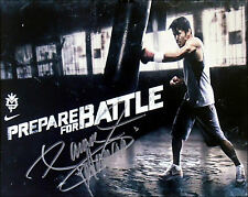 MANNY PACQUIAO Signed 10x8 'PREPARE FOR BATTLE' Team Pac Cert