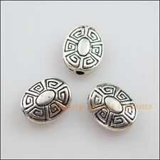 10Pcs Tibetan Silver Tone Flower Oval Flat Spacer Beads Charms 9x11mm