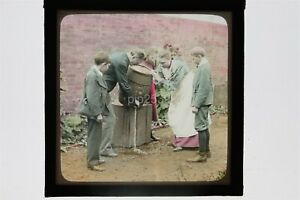 Temperance - Pouring Alcohol Away - Hand Tinted Glass Lantern Slide Life Models