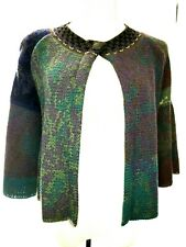 CATHERINE ANDRE' MERINO WOOL MULTI-COLORED BELL SLEEVED CARDIGAN
