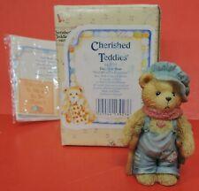 1994 Cherished Teddies Tiny Ted Bear W/Crutch Figurine 614777-God Bless Everyone