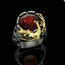 Ruby Hip Hop Punk Party Jewelry Gift Men's Fashion Gold Dragon Rings 925 Silver
