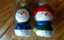 Porcelain snowman salt and pepper shakers green red stocking caps sweaters