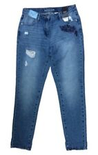 New Next Size 8 L Boyfit Women's Embroidered Distressed Blue Jeans