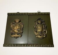 Decorative Wood Hanging Plaques Wood Raised Rustic Relief Blazons Pair