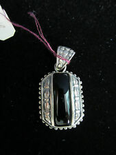 Onyx Pendant Oblong Makers Mark FAS 925 Sterling Silver Setting New