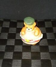 Enesco 1989 Porcelain Lucy & Me Deluxe Hamburger Teddy Bear Figurine