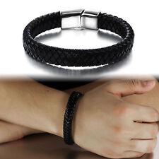 Mens Boyfriend Punk Surf Strap Band Braided Wristband Stainless Steel Bracelet