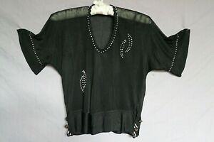 True Vintage 30s Black Silky Rayon Blouse Top w Milk Glass Beads  As Is S