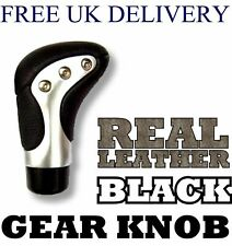 REAL LEATHER Universal Black & Alloy Gear Stick Knob Nob Car High Quality NEW