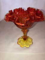 "Vintage Fenton Amberina Ruffled 6 1/2"" Tall Compote Candy Dish Pedestal Bowl"