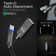 Mcdodo Usb-c Type-c Qc 3.1 LED Auto Disconnect Quick Charger Data Charging Cable Black 3.3 Ft/ 1 M 2 Pack for Samsung Galaxy Note 8