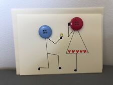 Unique handmade Button Engagement/wedding Occasions Greetings Card A6