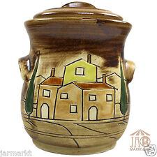 Toskana Rumtopf Keramik - Vorratstopf - Einlegetopf - 2,5 L Topf mit Deckel