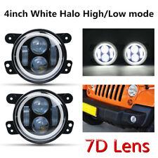 """4"""" Inch LED Fog Lights Lamp Hi/Lo White Halo Angel Eyes for Jeep Wrangler JK TJ"""