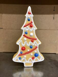 Blow Mold Gingerbread Tree Red White Blue Patriotic Union Don Featherstone
