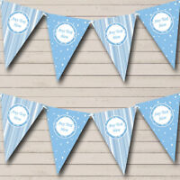 Soft Blue Stripes And Stars Personalised Baby Shower Bunting Party Banner