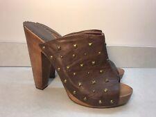Brown Clog Heels Womens 8 Gold Stud Peep Toe Mules Slides Platforms Womens