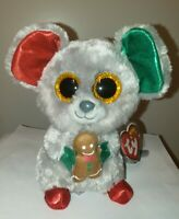 Ty Beanie Boos - MAC the Holiday Mouse (6 Inch) NEW - MINT with MINT TAGS