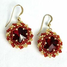 Beautiful V20 14KT Gold Entwined Embroidered Seed Bead Ruby Red Earrings Star