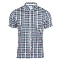Men's New Short Sleeved Regular Fit Button Down Cotton Check Shirt Tops