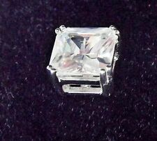 RHODIUM PLATED SOLID 925 SILVER 10MM PRINCESS CUT SOLITAIRE MENS STUD EARRING