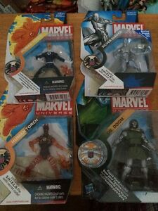 Marvel Universe Lot 4 Figures Human Torch Dark Blue/Flame On Silver Surfer Doom