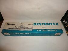 Vintage Monogram Us Navy Destroyer Uss Hobby Balsa Wood Model Kit B2 Orig. Box