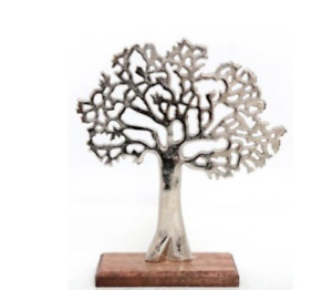 Silver 26.5cm Tree Of Life Ornament Figure Metal Sculpture On Wooden Stand