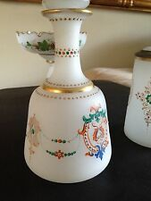 collectible  french enameled decorative glass set circa 1933 - 3 pieces