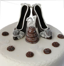 "Dark Chocolate Shoes with any ""AGE"" Cake Birthday Set Handmade Cake Topper"
